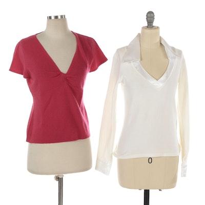 Rayure Paris Long Sleeve Velour Top and Autumn Cashmere Knit Twist-Front Top