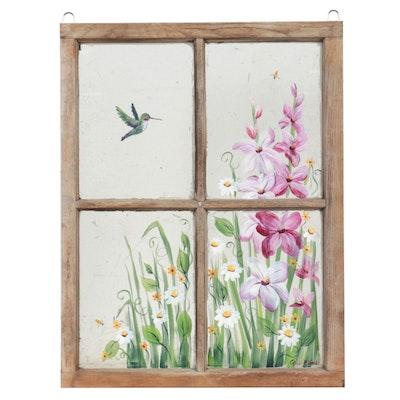 Corie Kline Acrylic Painting on Salvaged Window