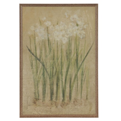 Offset Lithograph of White Blossoms