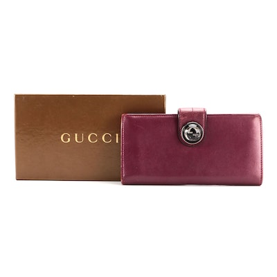 Gucci Long Wallet in Violet Leather with Galaxy Logo Clasp