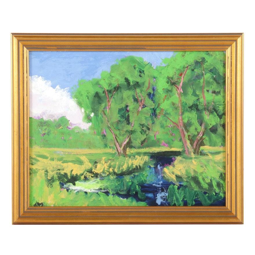 Kenneth R. Burnside Creek Oil Painting, 21st Century