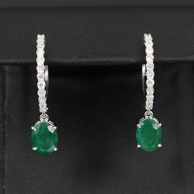 14K Emerald and Diamond Hoop Earrings