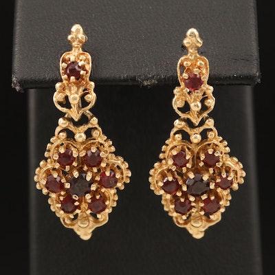 14K Rhodolite Garnet Drop Earrings