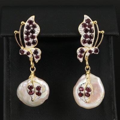Sterling Garnet and Pearl Butterfly Earrings