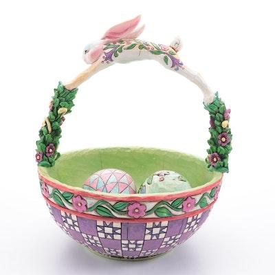 """Jim Shore Heartwood Creek """"Springtime Surprises"""" Basket with Eggs"""