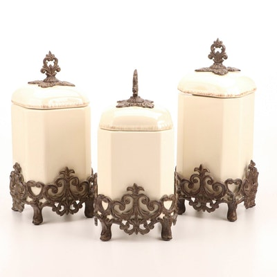 Gracious Goods 3-Piece Ceramic Canister Set With Acanthus Leaf Metal Base