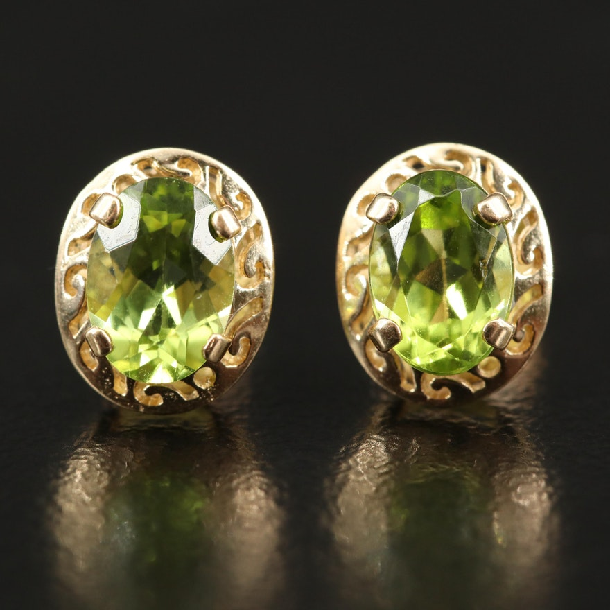 14K Peridot Openwork Stud Earrings