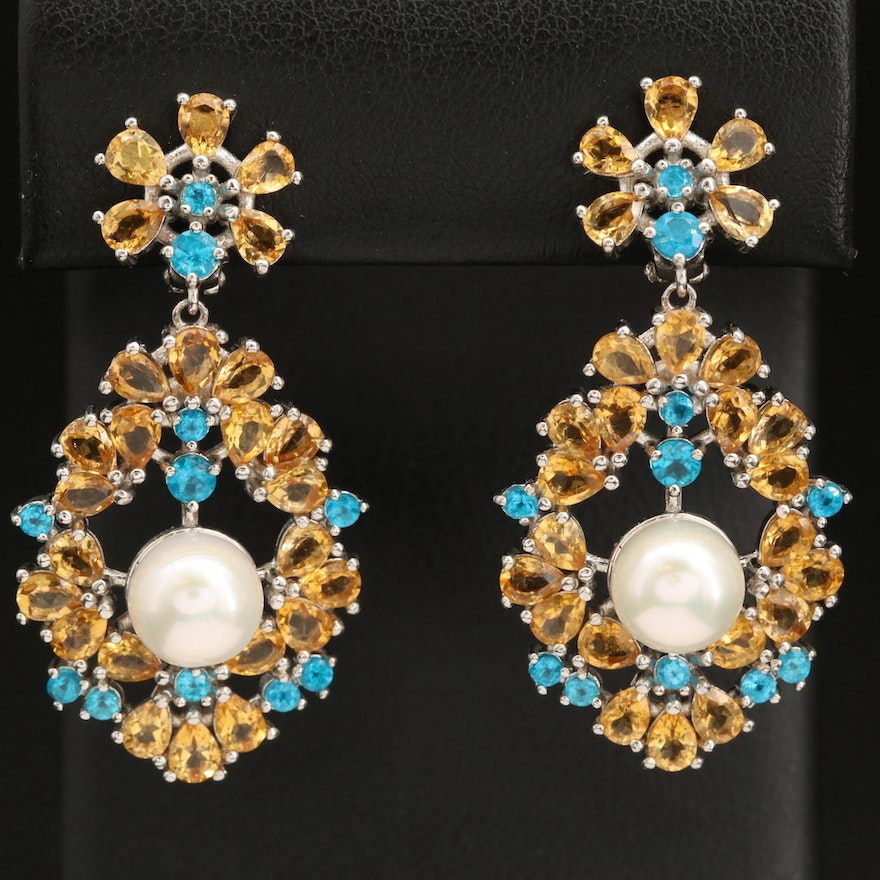 Sterling Silver Pearl, Citrine and Apatite Drop Earrings