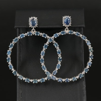 Sterling Sapphire and Cubic Zirconia Circle Earrings