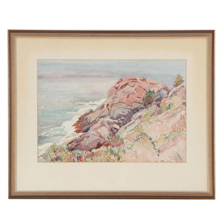 Jessie Bryan Trefethen Coastal Scene Watercolor Painting, 1949