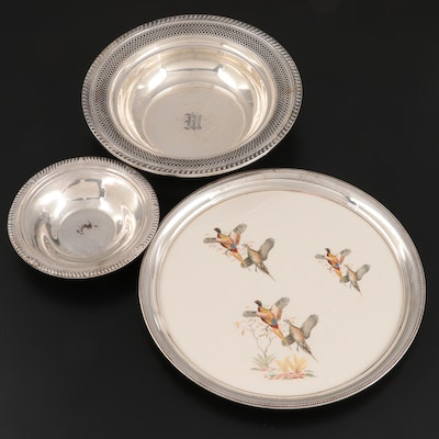 American Sterling Silver Bowls with Sterling Rimmed Ceramic Trivet, circa 1960