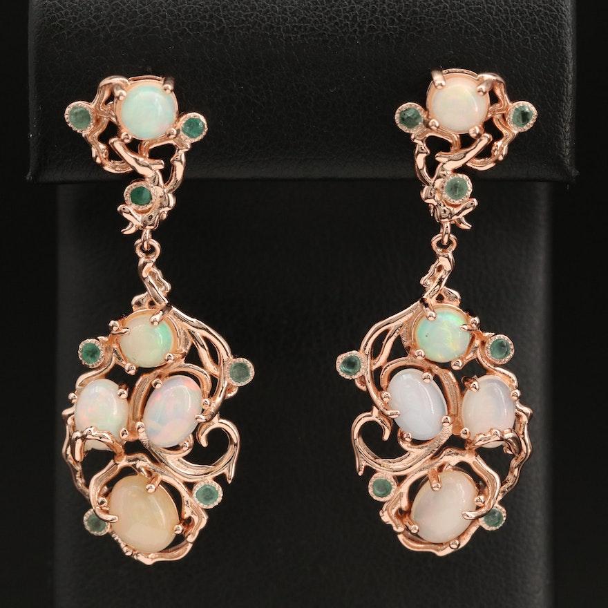 Sterling Opal and Emerald Earrings