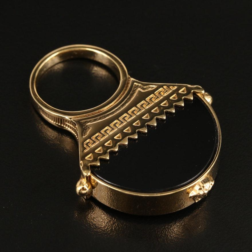 Versace Black Onyx Ring