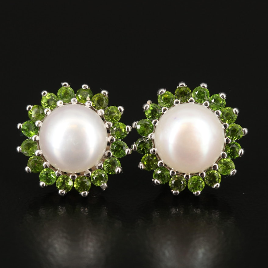Sterling Pearl and Diopside Earrings
