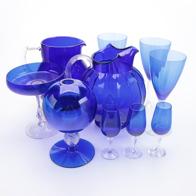 Twist Stem Ivy Ball Vase and Other Cobalt Blue Glass Tableware, Late 20th C.