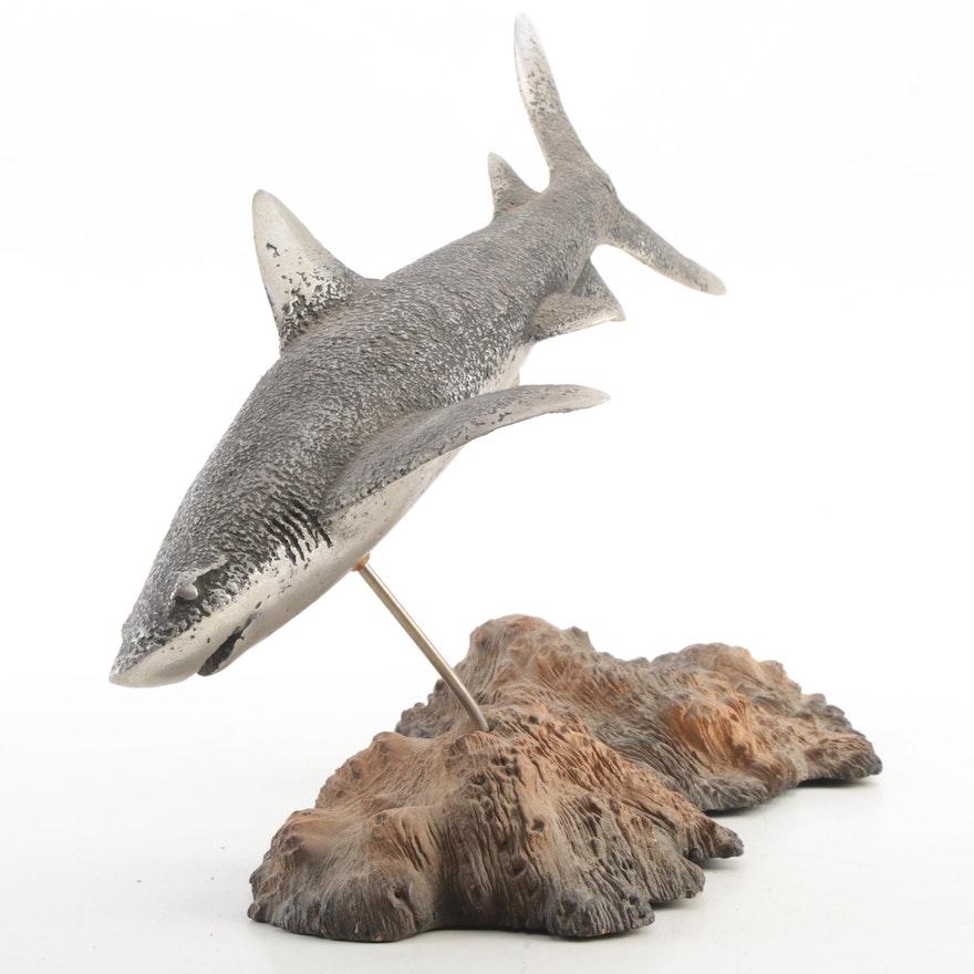 Textured Cast Metal Shark on Wood Base