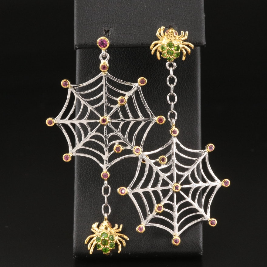 Sterling Garnet and Diopside Spider with Web Earrings