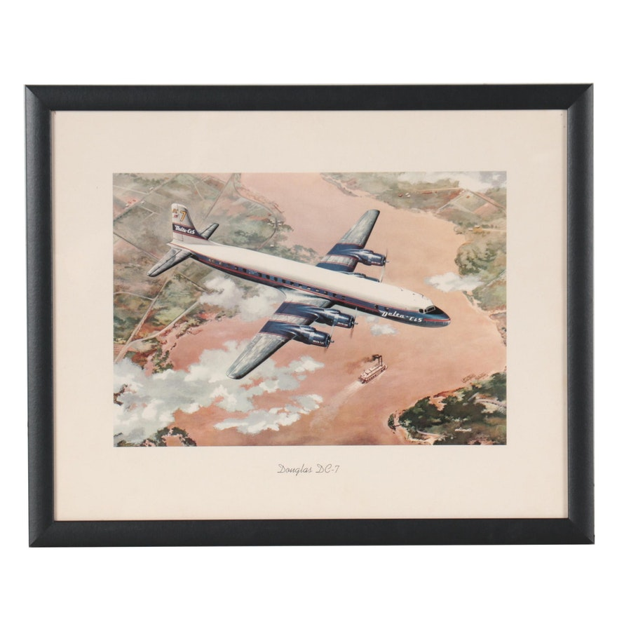 """Offset Lithograph After George Akimoto """"Douglas DC-7,"""" Late 20th Century"""