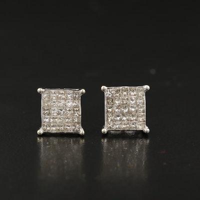 14K 1.04 CTW Invisible Set Diamond Earrings