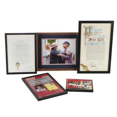 Hollywood Legend Diane Ladd Personal Awards and Other Framed Ephemera