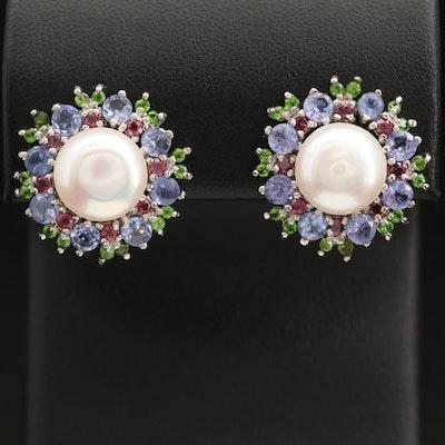Sterling Pearl, Tanzanite and Diopside Earrings