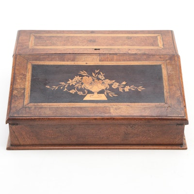 English Victorian Marquetry and Burled Walnut Wood Writing Box, 19th Century