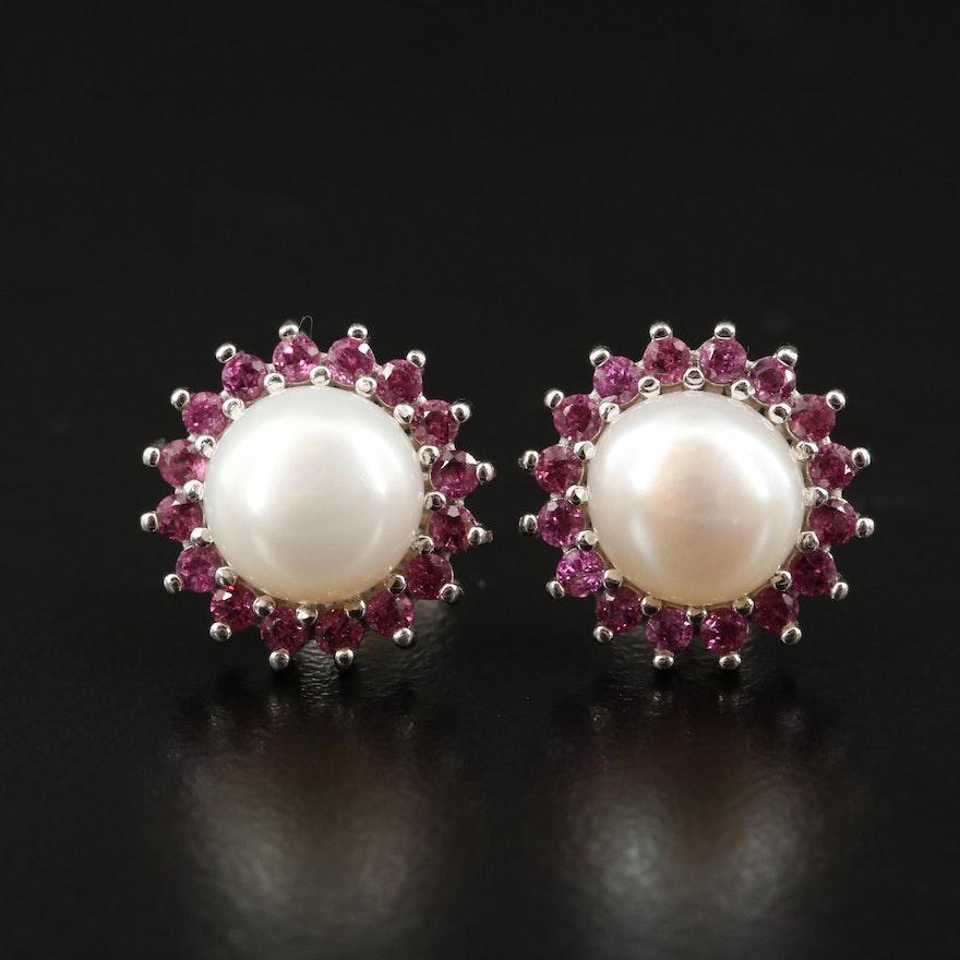 Sterling Pearl and Garnet Halo Stud Earrings