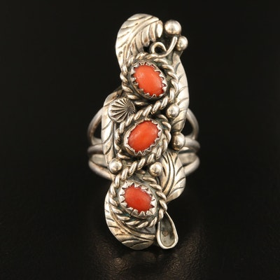 Southwestern Sterling Silver Coral Appliqué Ring