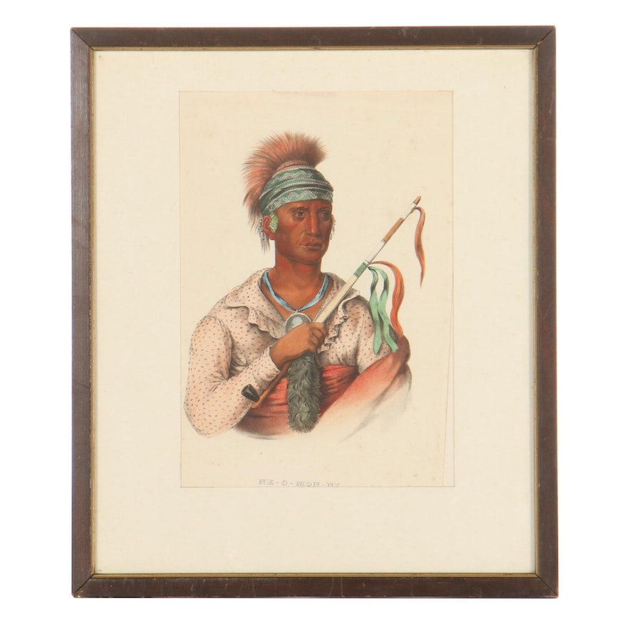 """Hand-Colored Lithograph After Thomas Loraine McKenney """"Not-Chi-Mi-Ne"""""""