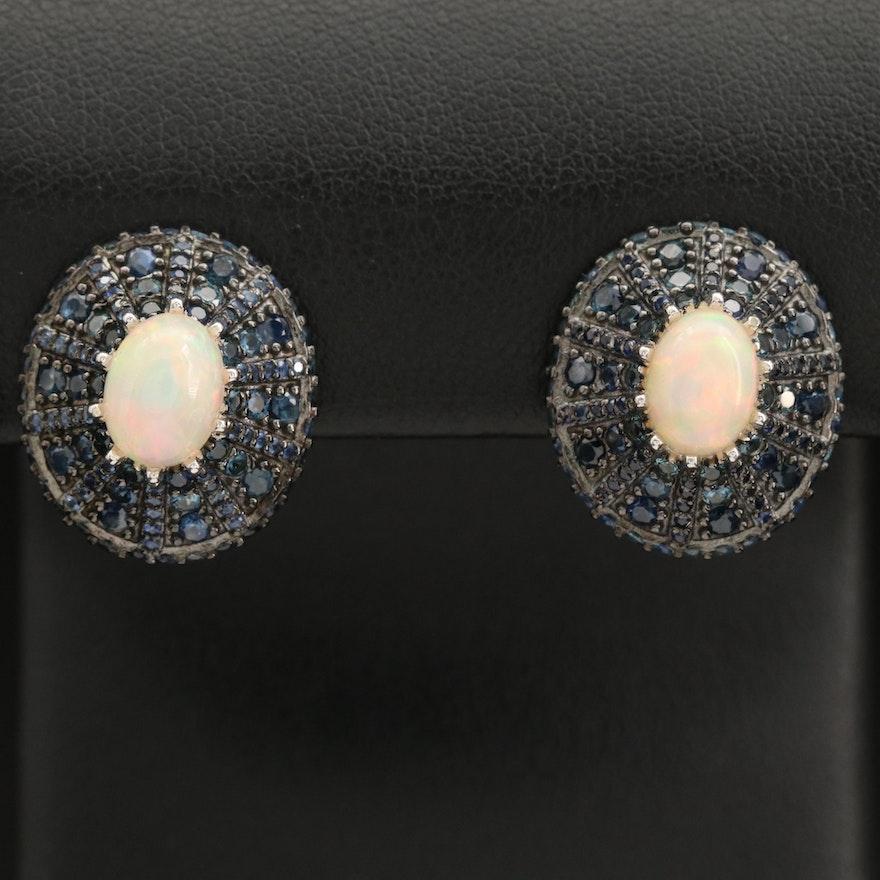 Sterling Silver Opal and Sapphire Drop Earrings