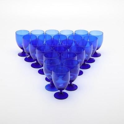 Cobalt Blue Glass Water Goblets