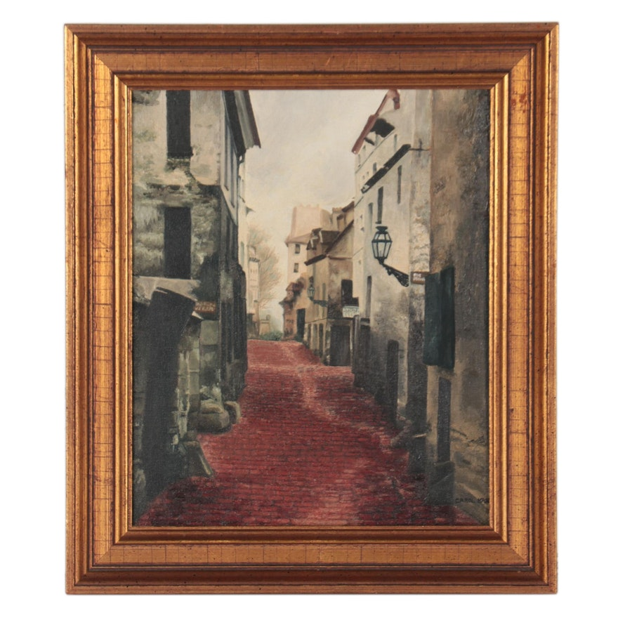 """Oil Painting After Charles Marville """"Rue Traversine,"""" Late 20th Century"""