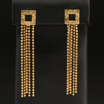 Hammered Gold-Filled Bead Chain Fringe Earrings