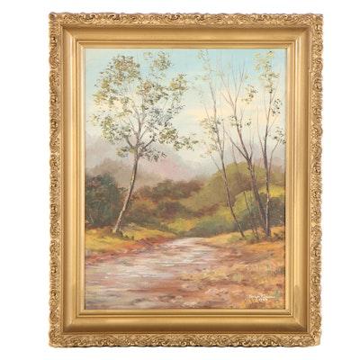 Evelyn Pierson Landscape Oil Painting, 1979