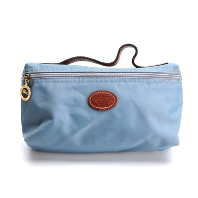 Longchamp Le Pliage Cosmetic Case in Blue with Brown Leather Trim