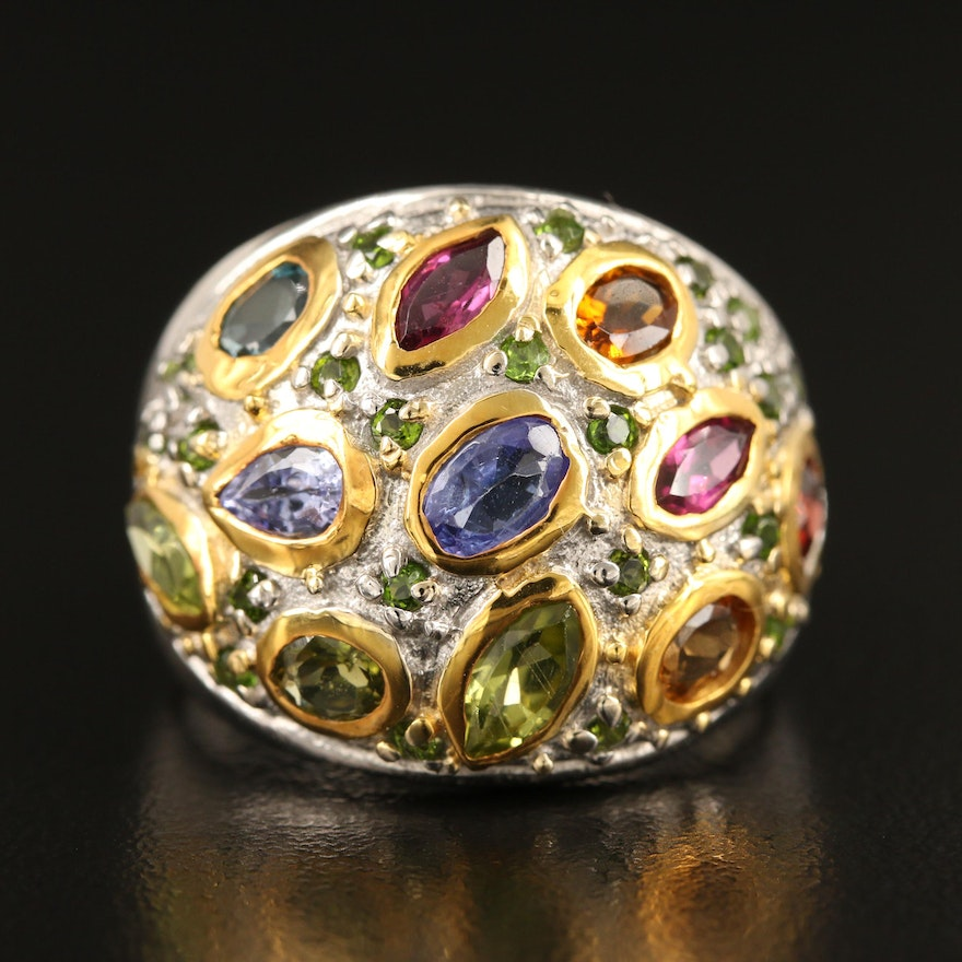 Sterling Silver Dome Ring Featuring Tanzanite, Peridot and Rhodolite Garnet
