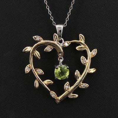 Sterling Peridot and Diamond Foliate Heart Pendant on Italian Necklace