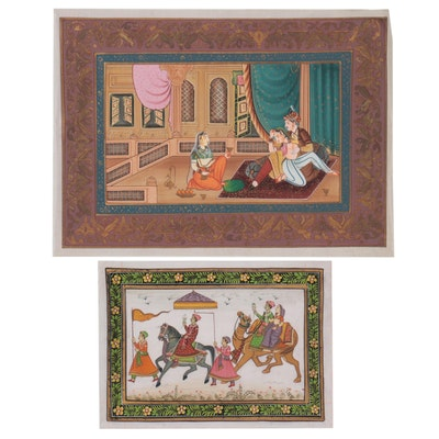 Mughal Style Royal Procession and Terrace Consort Gouache Paintings on Fabric