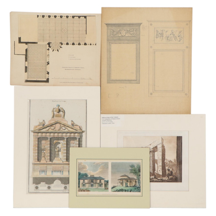 Architectural Drawings, Engravings, and Lithographs, Early to Mid-20th Century