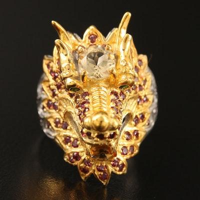Sterling Citrine and Rhodolite Garnet Dragon Ring