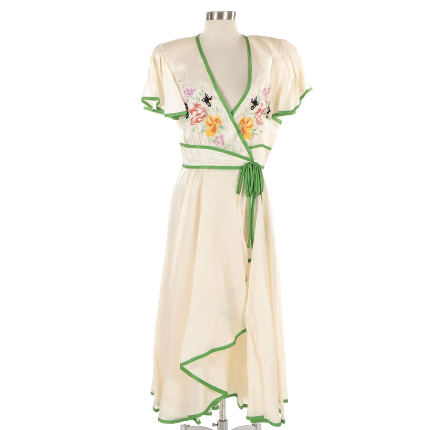 Silk Wrap Dress with Floral Embroidery and Flutter Sleeves