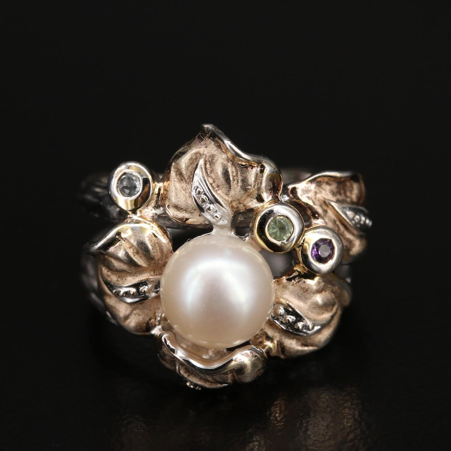 Sterling Pearl, Amethyst and Gemstone Anthurium Ring