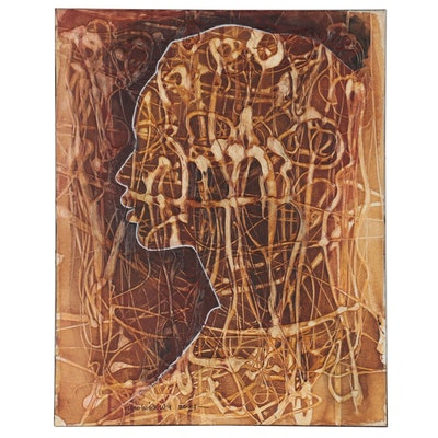 """Abiola Idowu Mixed Media Painting of Silhouette """"My Love My Everything,"""" 2021"""