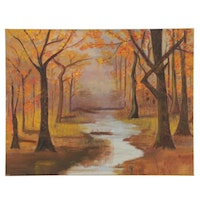 Autumn Forest Creek Oil Painting, Mid-Late 20th Century
