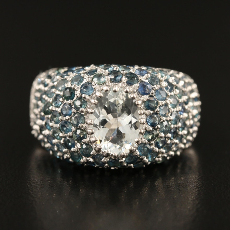 Sterling Aquamarine Pavé Ring