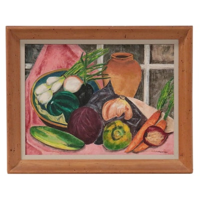 Ruth A. Wenneman Still Life Acrylic Painting with Vegetables, Late 20th Century