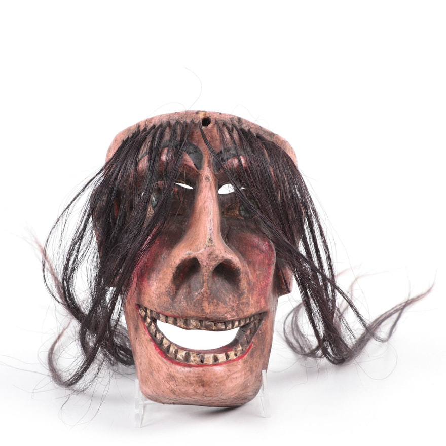 Mexican Carved Wood and Horse Hair Mask
