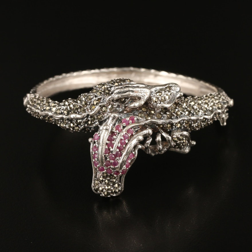 Sterling Ruby and Marcasite Dragon Bangle