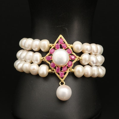 Triple Strand Pearl and Ruby Bracelet with Sterling Silver Clasp