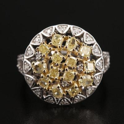 18K 1.84 CTW Diamond Cluster Ring